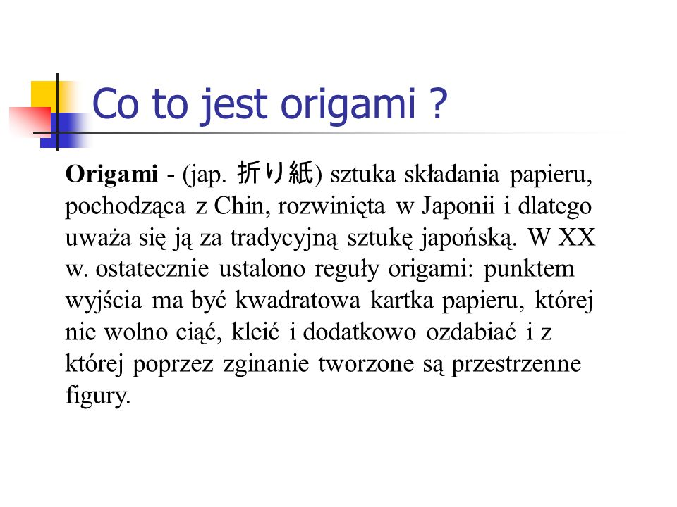 Co to jest origami