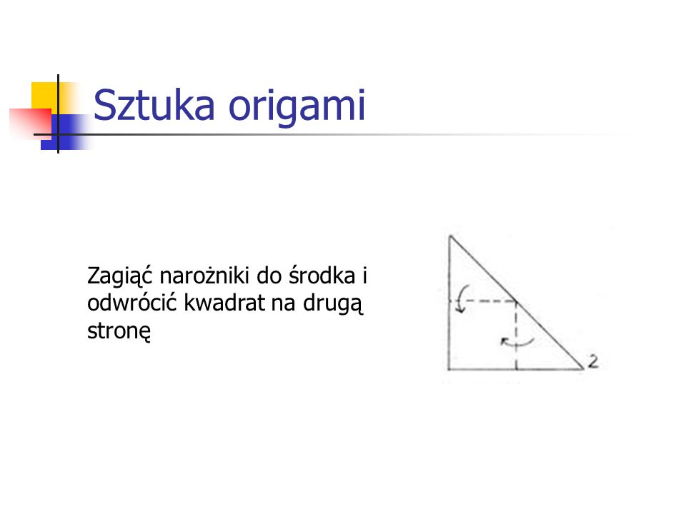 Sztuka origami Zagiąć narożniki do środka i odwrócić kwadrat na drugą stronę