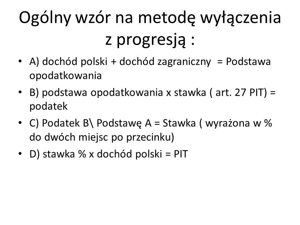 Ogólny wzór na metodę wyłączenia z progresją :