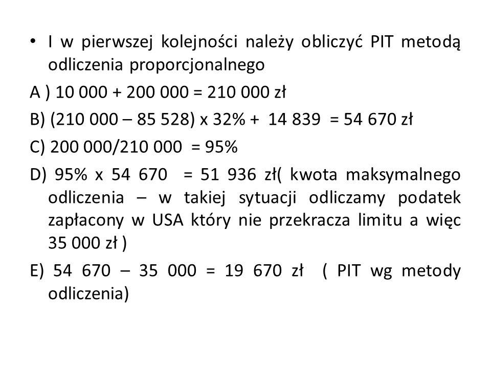 I w pierwszej kolejności należy obliczyć PIT metodą odliczenia proporcjonalnego