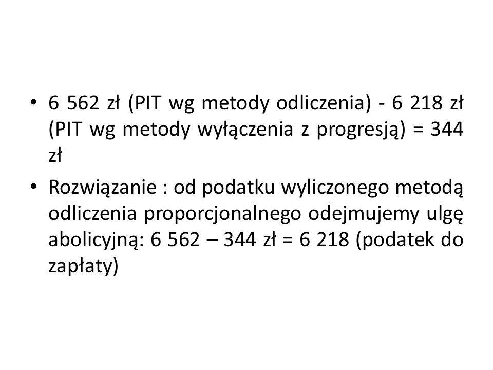 6 562 zł (PIT wg metody odliczenia) - 6 218 zł (PIT wg metody wyłączenia z progresją) = 344 zł