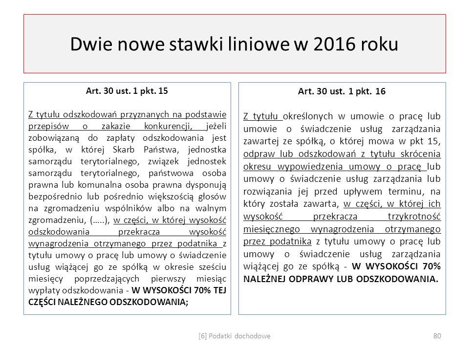 Dwie nowe stawki liniowe w 2016 roku