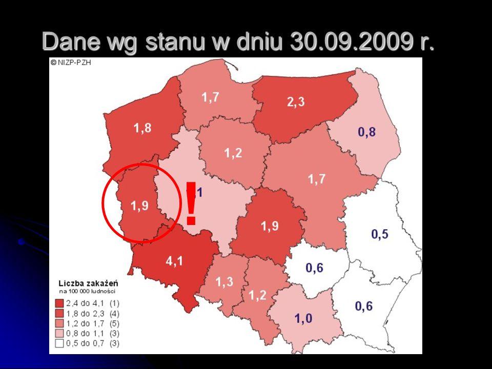 Dane wg stanu w dniu 30.09.2009 r. !