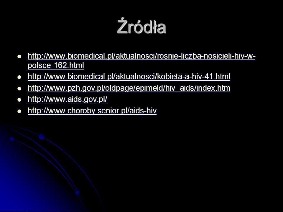 Źródła http://www.biomedical.pl/aktualnosci/rosnie-liczba-nosicieli-hiv-w-polsce-162.html.