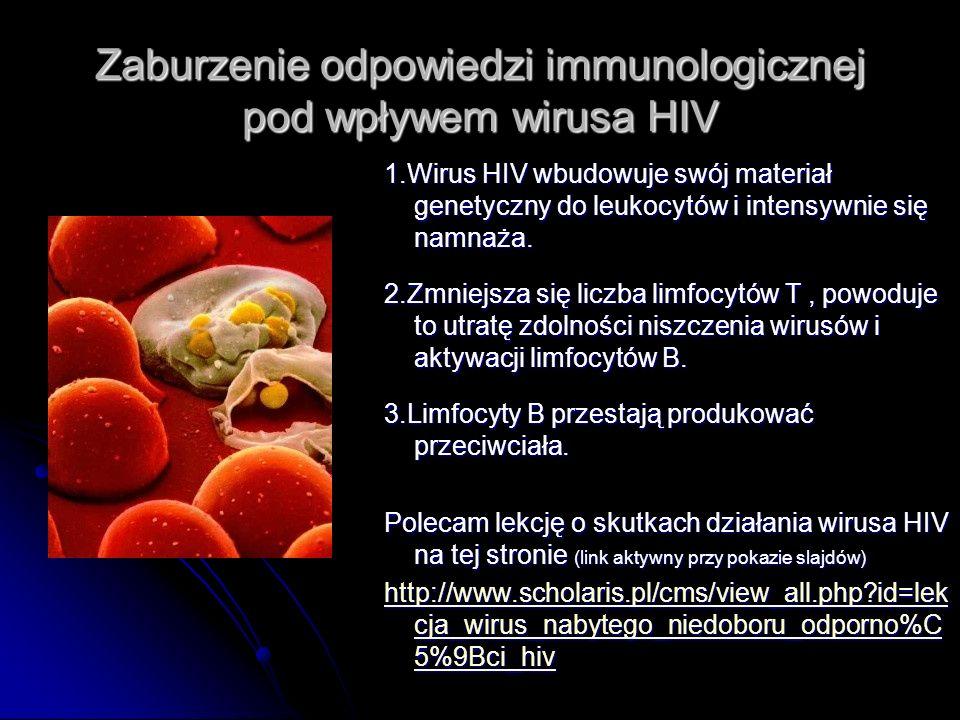 Zaburzenie odpowiedzi immunologicznej pod wpływem wirusa HIV