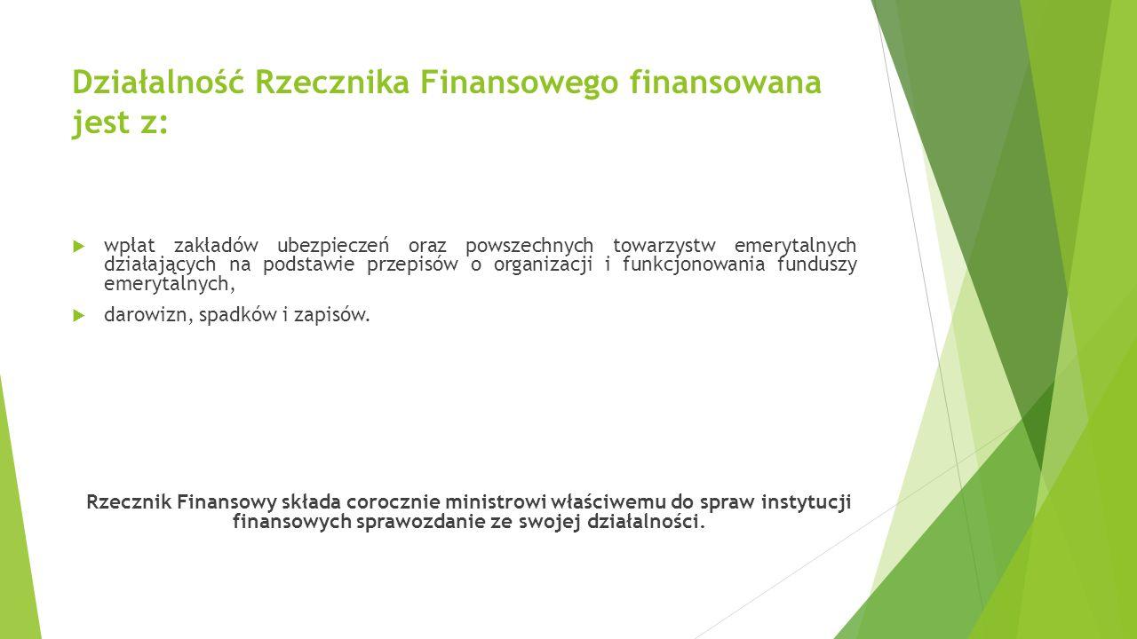 Działalność Rzecznika Finansowego finansowana jest z: