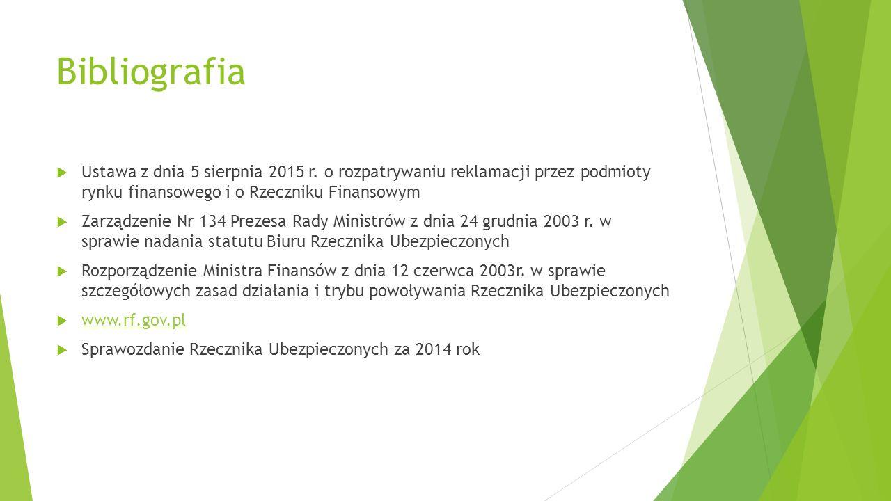 Bibliografia Ustawa z dnia 5 sierpnia 2015 r. o rozpatrywaniu reklamacji przez podmioty rynku finansowego i o Rzeczniku Finansowym.
