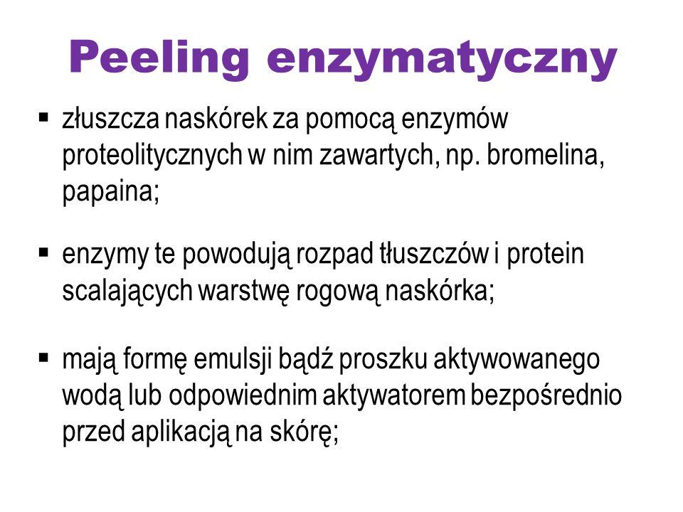 Peeling enzymatyczny złuszcza naskórek za pomocą enzymów proteolitycznych w nim zawartych, np. bromelina, papaina;