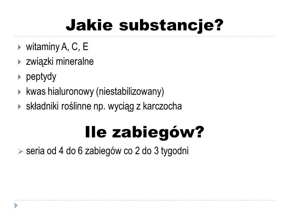Jakie substancje Ile zabiegów witaminy A, C, E związki mineralne