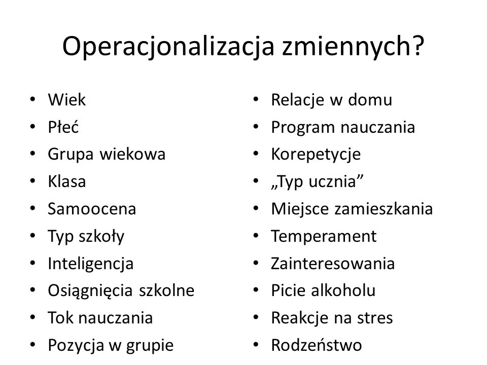 Operacjonalizacja zmiennych