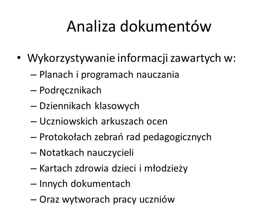 Analiza dokumentów Wykorzystywanie informacji zawartych w: