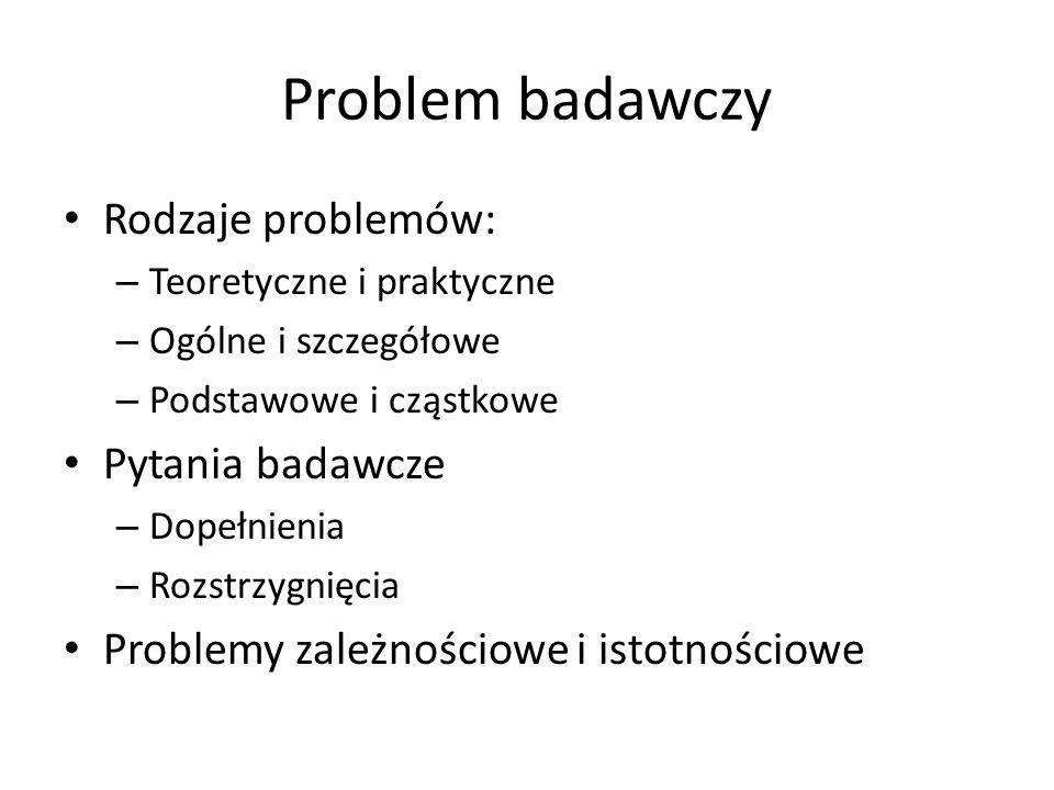 Problem badawczy Rodzaje problemów: Pytania badawcze