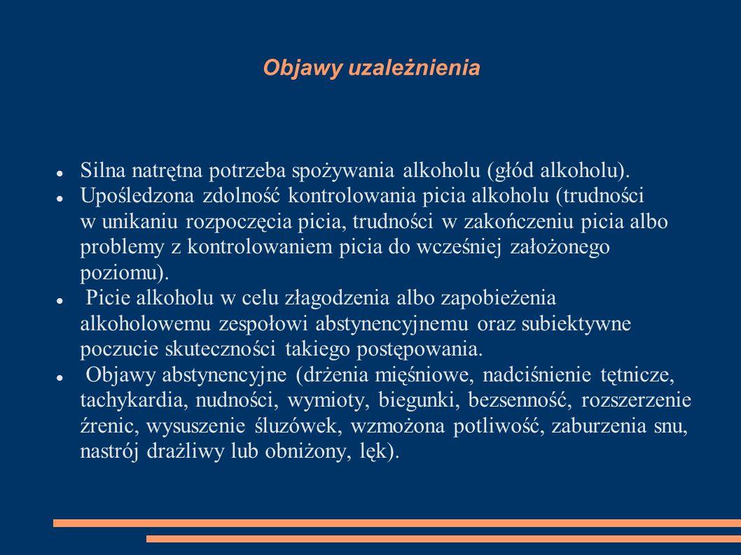 Objawy uzależnienia Silna natrętna potrzeba spożywania alkoholu (głód alkoholu).