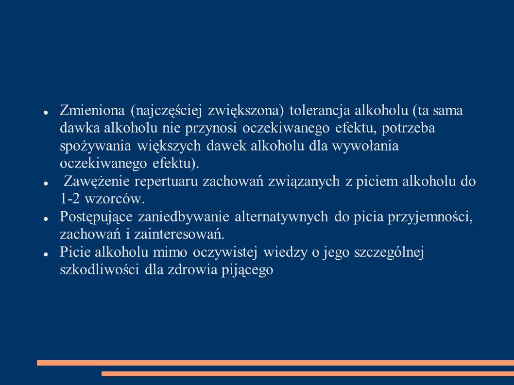 Zmieniona (najczęściej zwiększona) tolerancja alkoholu (ta sama dawka alkoholu nie przynosi oczekiwanego efektu, potrzeba spożywania większych dawek alkoholu dla wywołania oczekiwanego efektu).