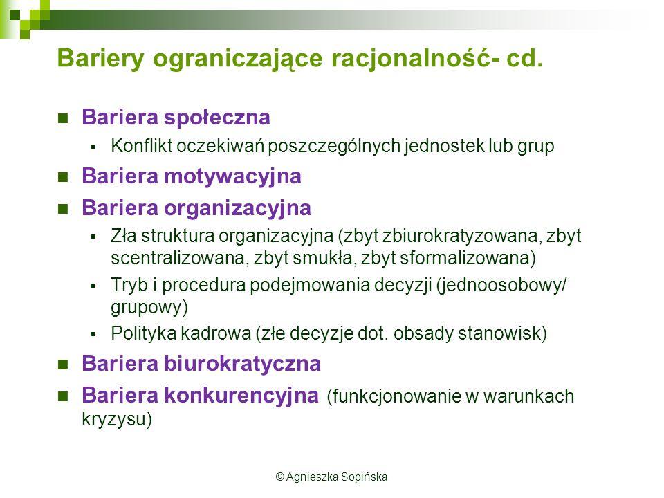 Bariery ograniczające racjonalność- cd.
