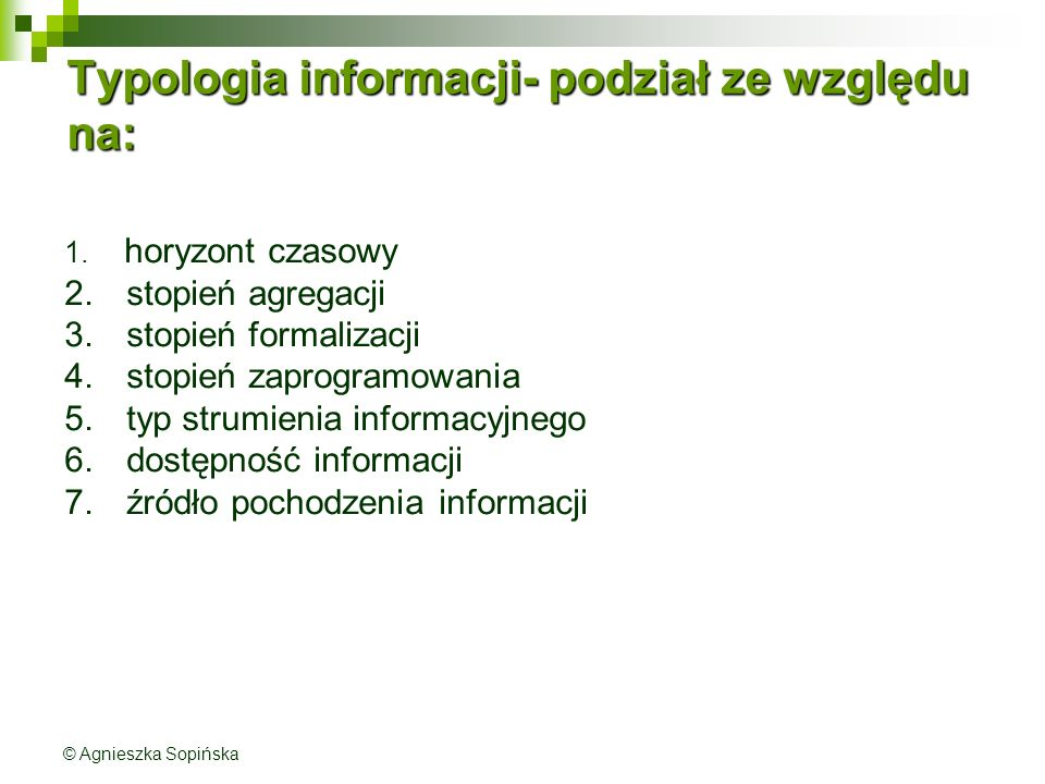 Typologia informacji- podział ze względu na: