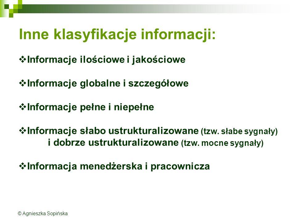 Inne klasyfikacje informacji: