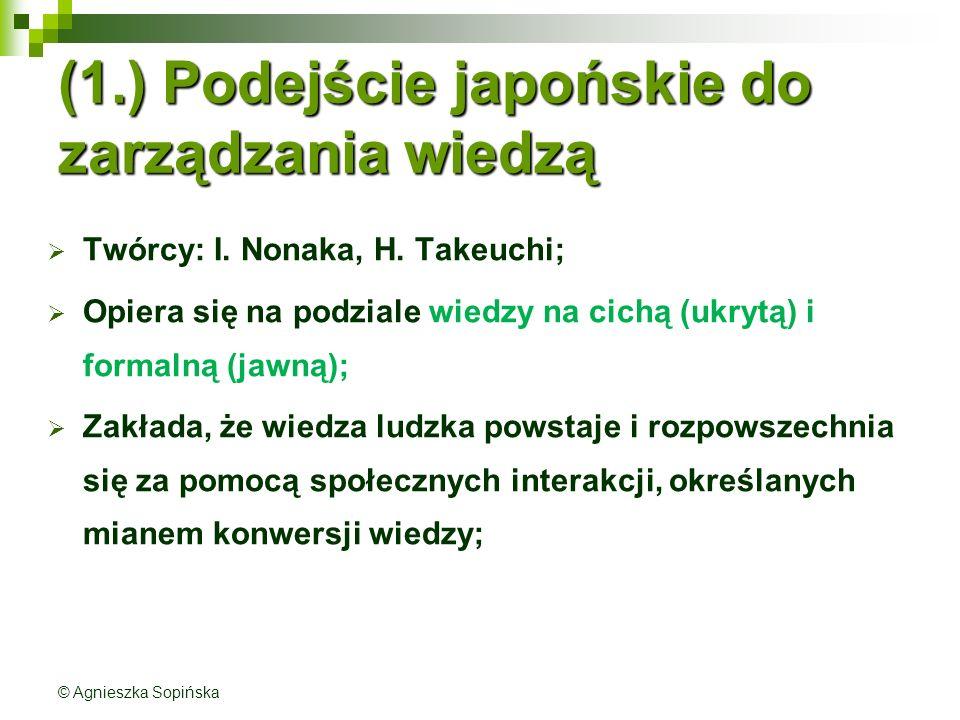 (1.) Podejście japońskie do zarządzania wiedzą
