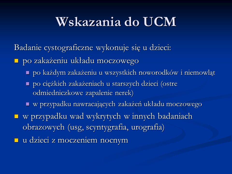 Wskazania do UCM Badanie cystograficzne wykonuje się u dzieci:
