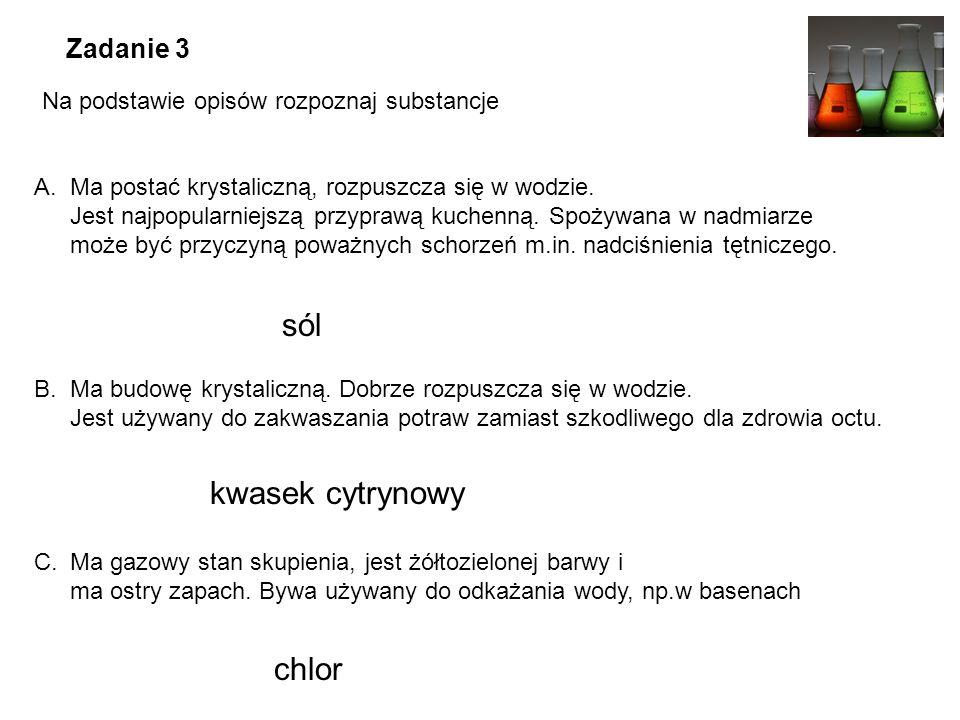 sól kwasek cytrynowy chlor Zadanie 3