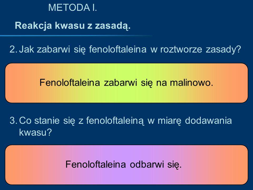 METODA I. Reakcja kwasu z zasadą. Jak zabarwi się fenoloftaleina w roztworze zasady Fenoloftaleina zabarwi się na malinowo.
