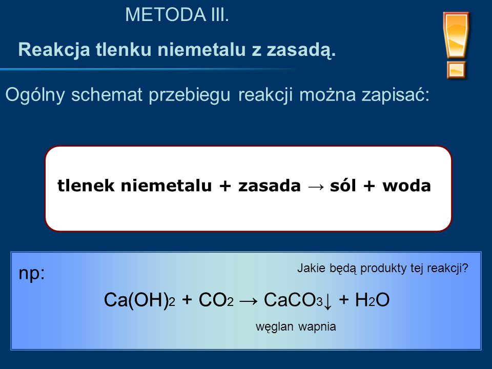 Reakcja tlenku niemetalu z zasadą.