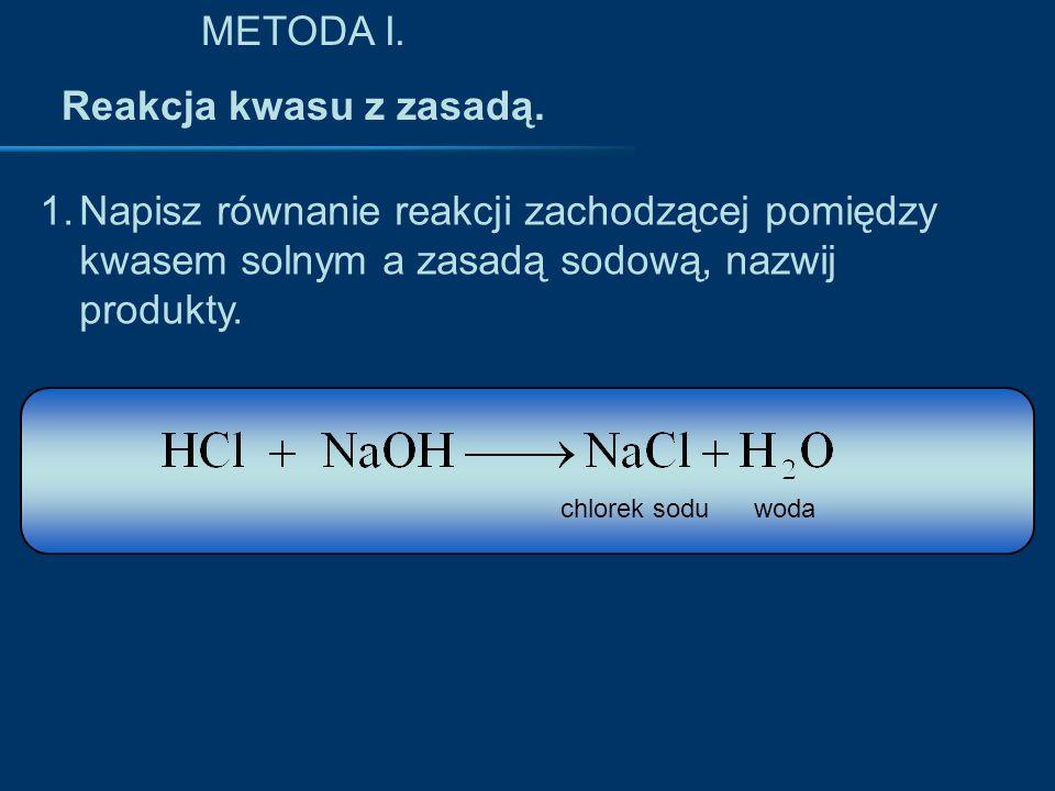METODA I. Reakcja kwasu z zasadą.