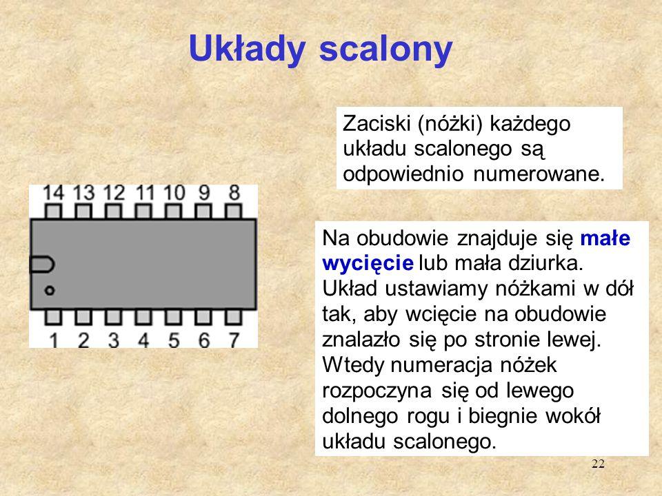 Układy scalony Zaciski (nóżki) każdego układu scalonego są odpowiednio numerowane.