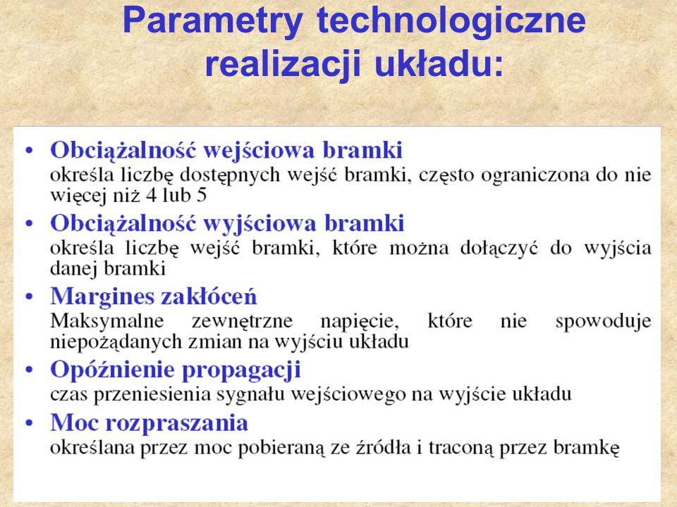 Parametry technologiczne realizacji układu: