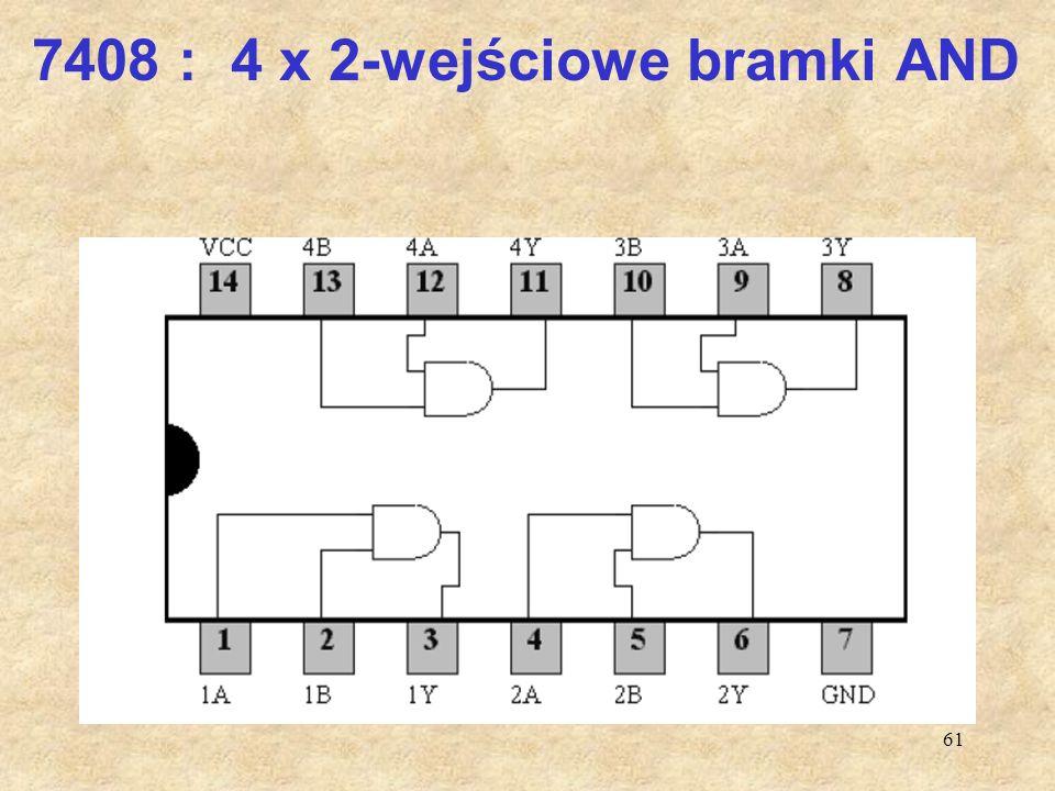 7408 : 4 x 2-wejściowe bramki AND