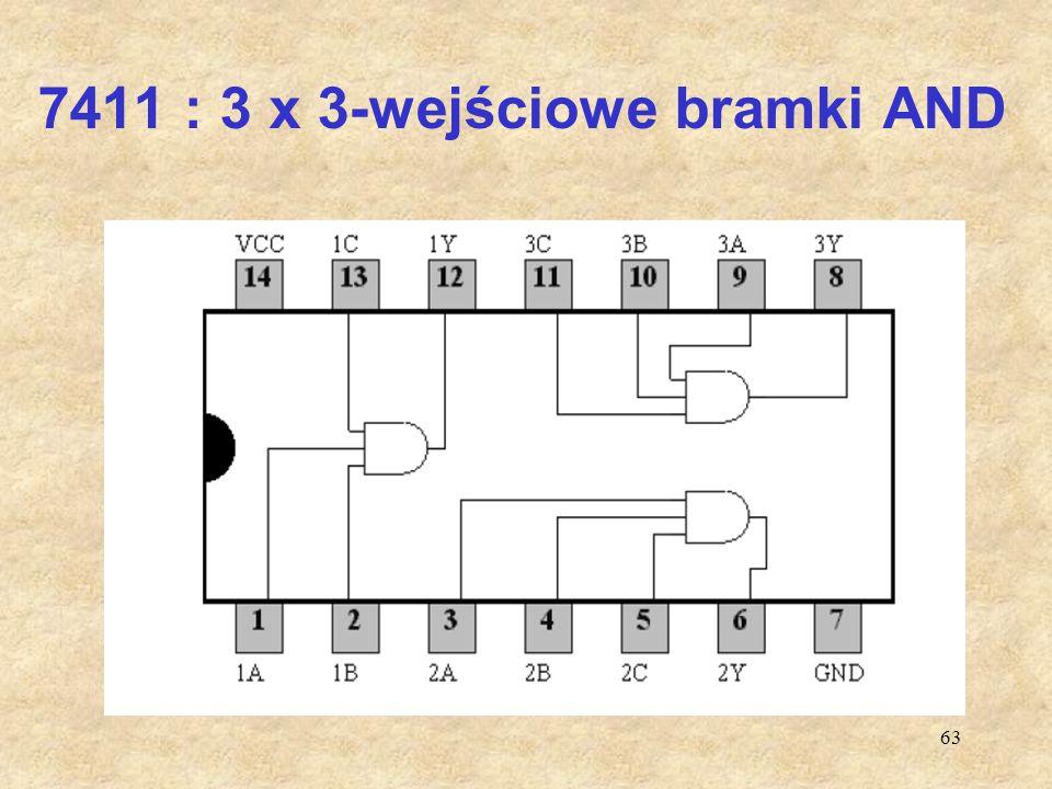 7411 : 3 x 3-wejściowe bramki AND