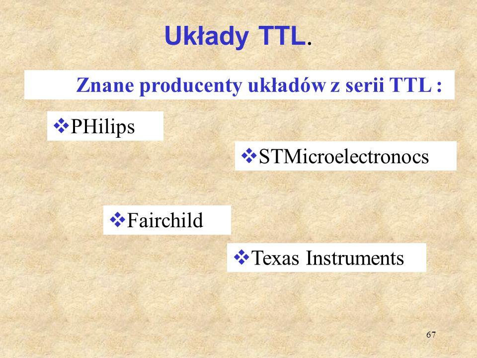 Układy TTL. PHilips STMicroelectronocs Fairchild Texas Instruments