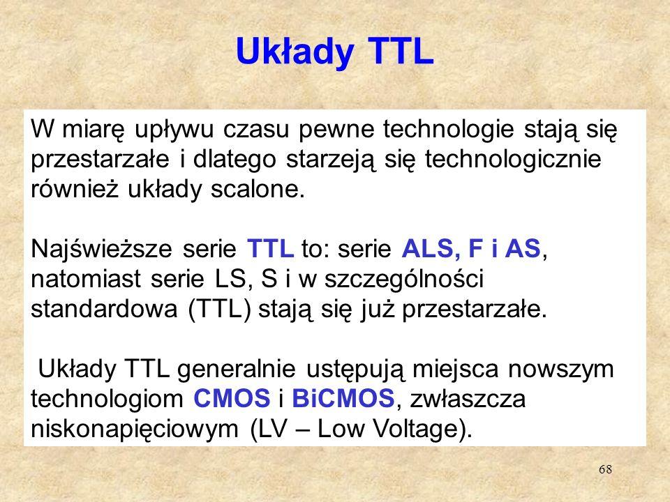Układy TTL W miarę upływu czasu pewne technologie stają się przestarzałe i dlatego starzeją się technologicznie również układy scalone.