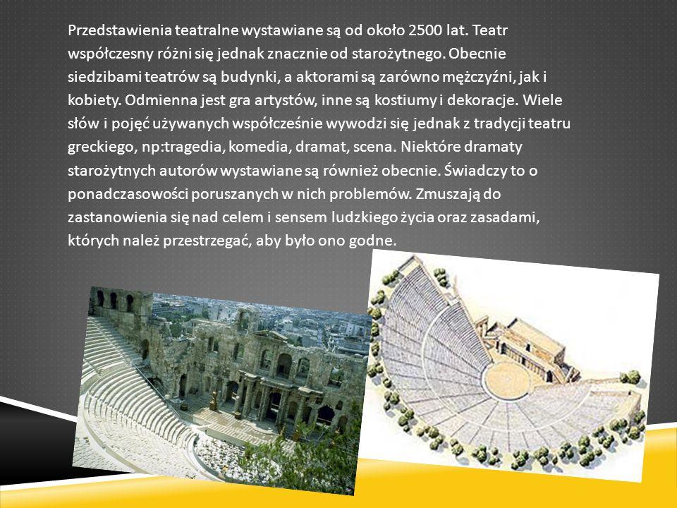 Przedstawienia teatralne wystawiane są od około 2500 lat