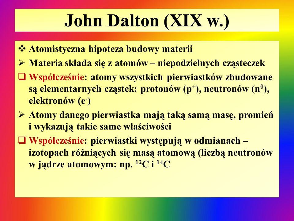 John Dalton (XIX w.) Atomistyczna hipoteza budowy materii