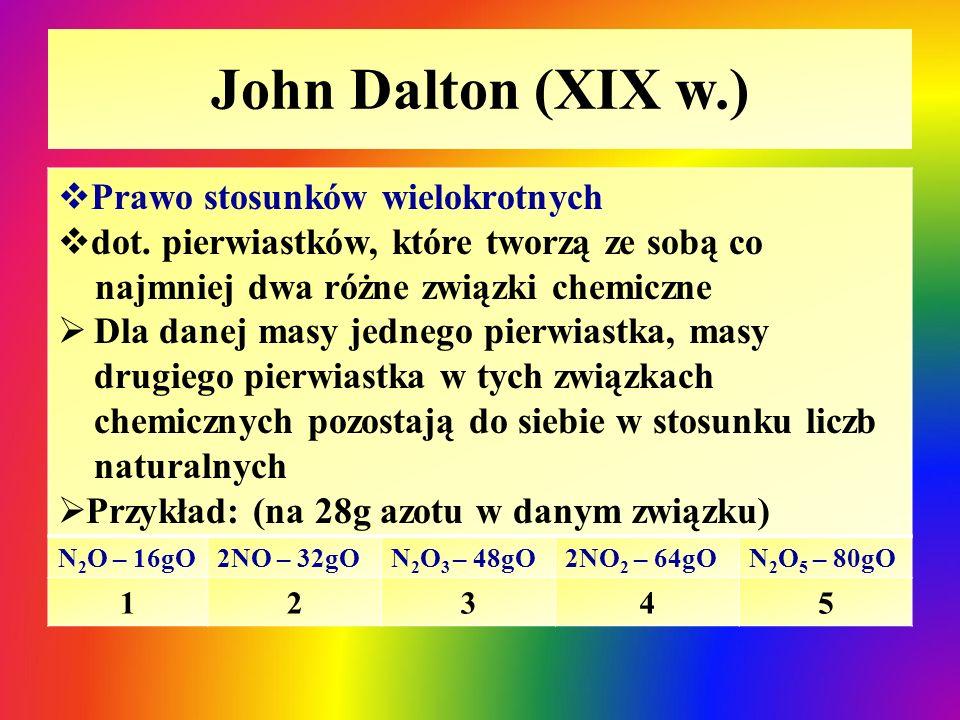 John Dalton (XIX w.) Prawo stosunków wielokrotnych