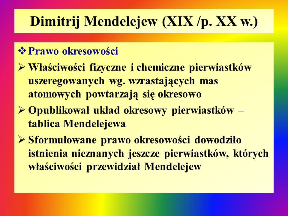Dimitrij Mendelejew (XIX /p. XX w.)
