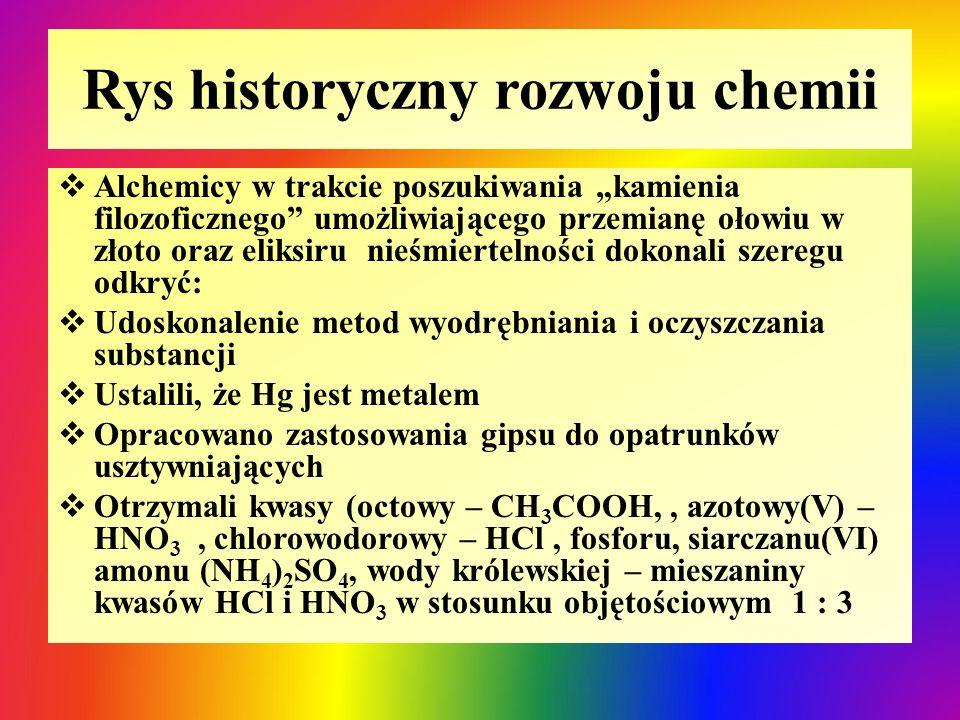 Rys historyczny rozwoju chemii
