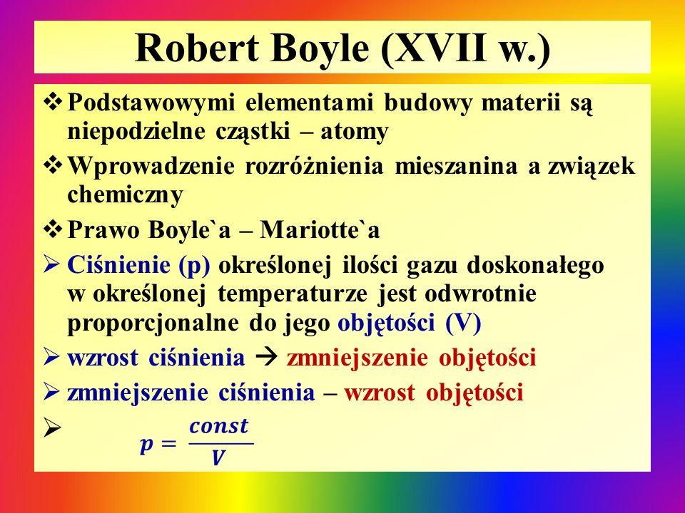 Robert Boyle (XVII w.) Podstawowymi elementami budowy materii są niepodzielne cząstki – atomy.