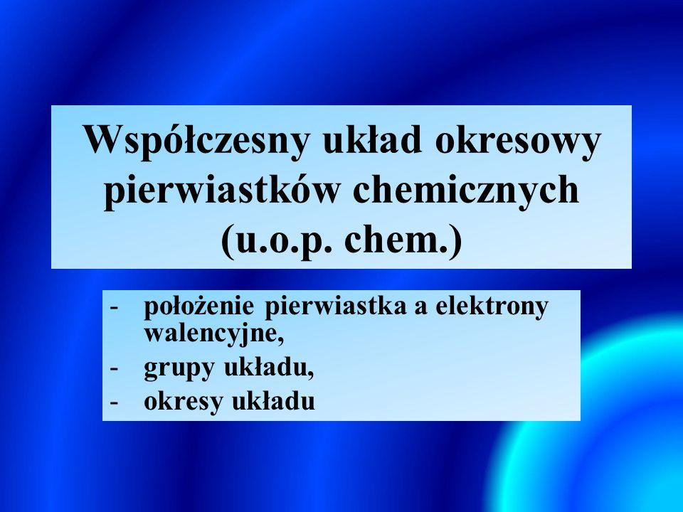 Współczesny układ okresowy pierwiastków chemicznych (u.o.p. chem.)
