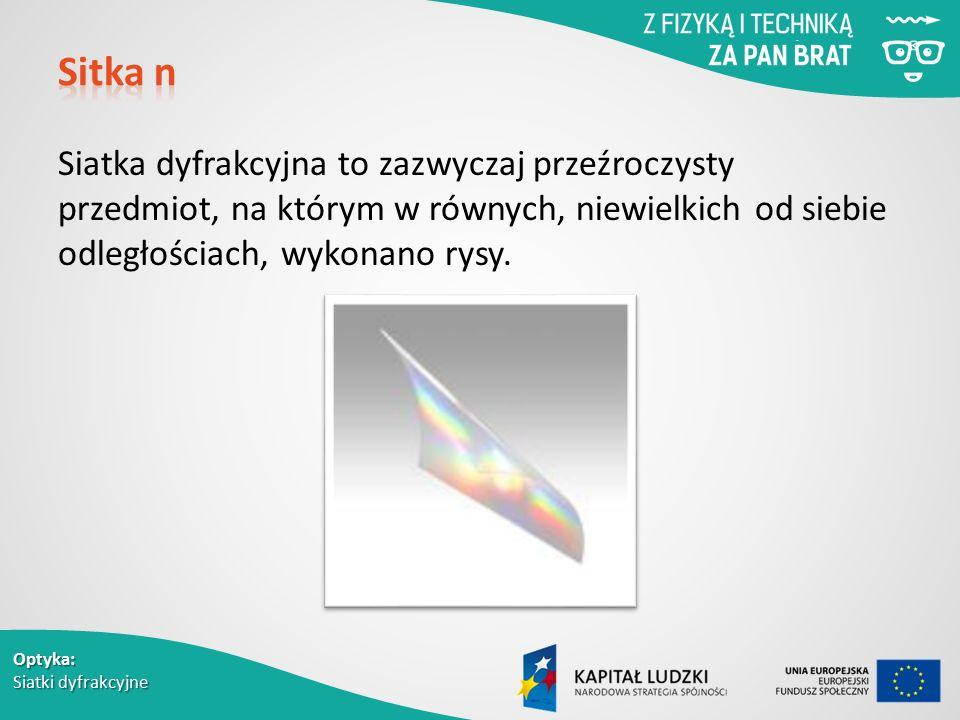 Sitka n Siatka dyfrakcyjna to zazwyczaj przeźroczysty przedmiot, na którym w równych, niewielkich od siebie odległościach, wykonano rysy.