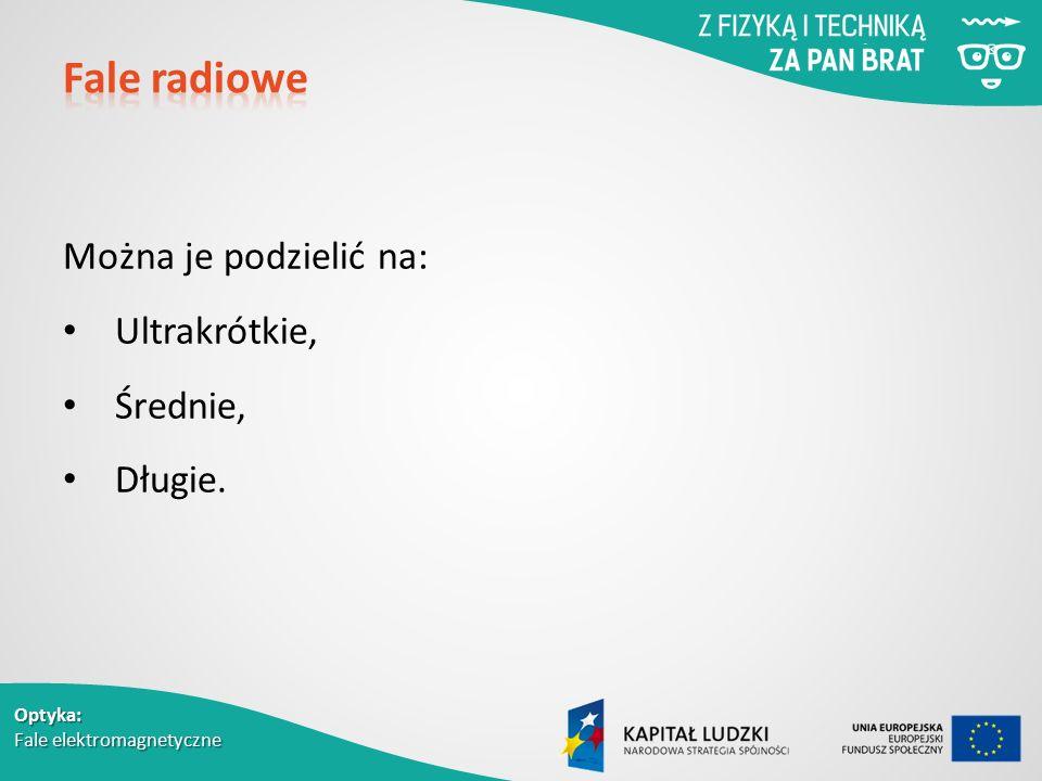 Fale radiowe Można je podzielić na: Ultrakrótkie, Średnie, Długie.