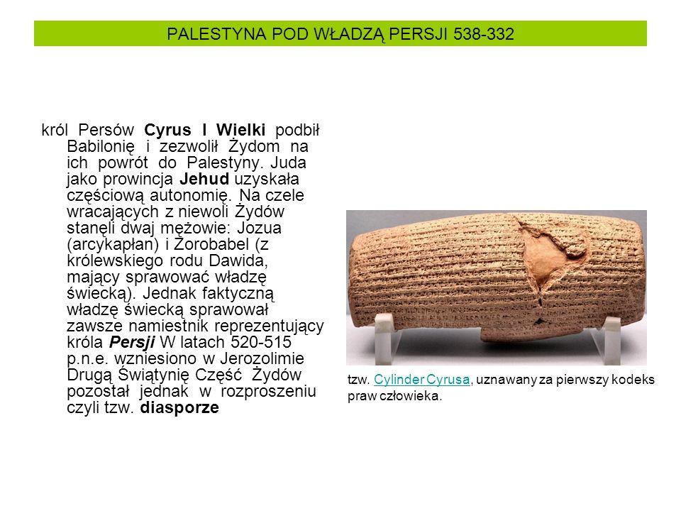 PALESTYNA POD WŁADZĄ PERSJI 538-332
