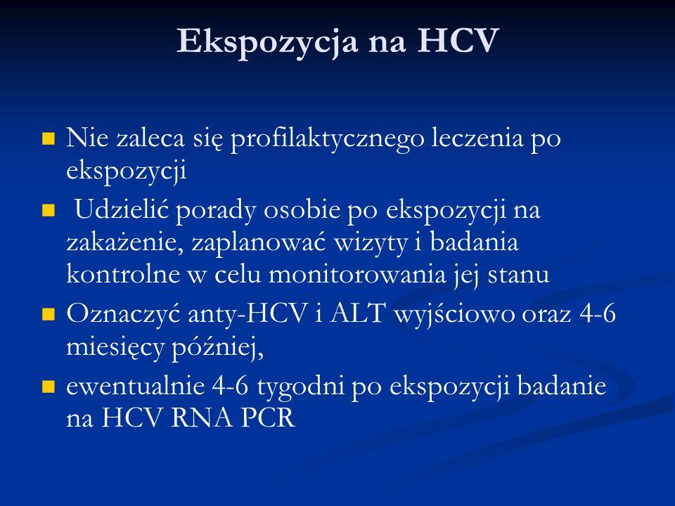 Ekspozycja na HCV Nie zaleca się profilaktycznego leczenia po ekspozycji.