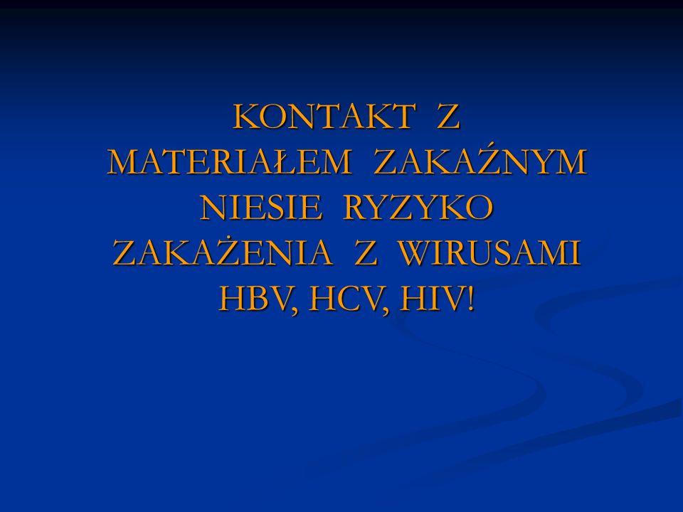 KONTAKT Z MATERIAŁEM ZAKAŹNYM NIESIE RYZYKO ZAKAŻENIA Z WIRUSAMI HBV, HCV, HIV!