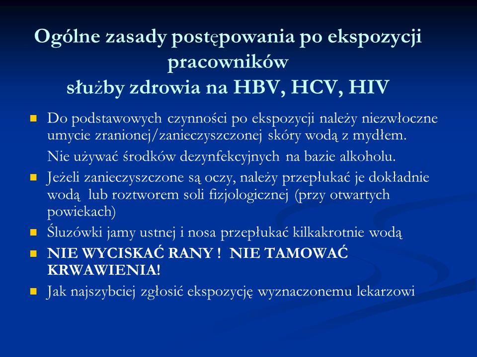 Ogólne zasady postępowania po ekspozycji pracowników służby zdrowia na HBV, HCV, HIV