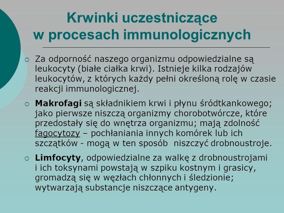 Krwinki uczestniczące w procesach immunologicznych