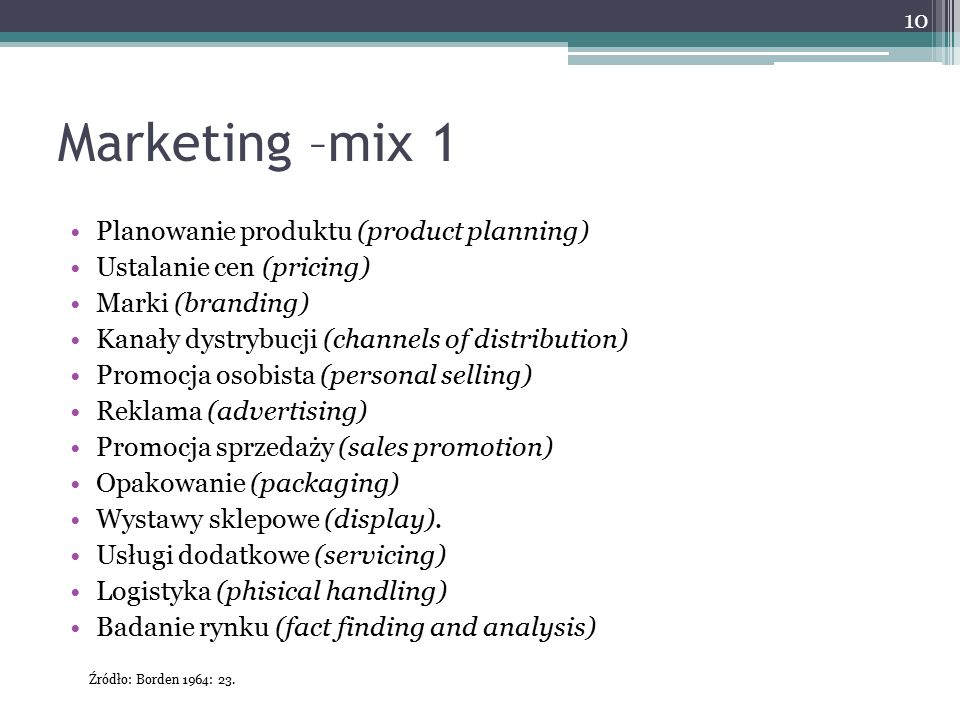 Marketing –mix 1 Planowanie produktu (product planning)