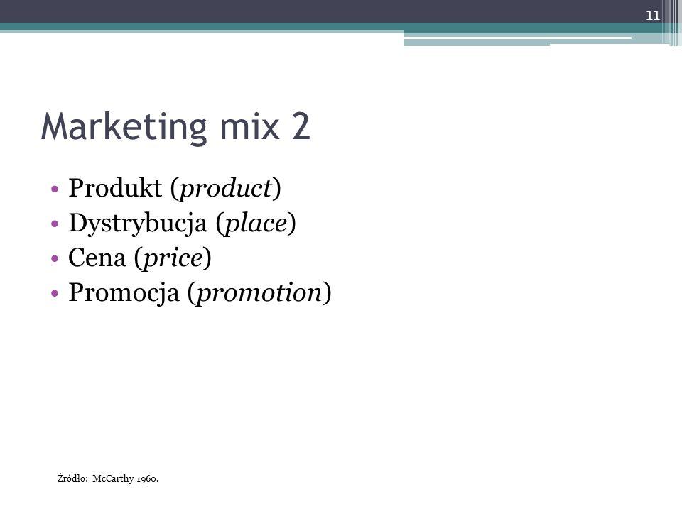 Marketing mix 2 Produkt (product) Dystrybucja (place) Cena (price)
