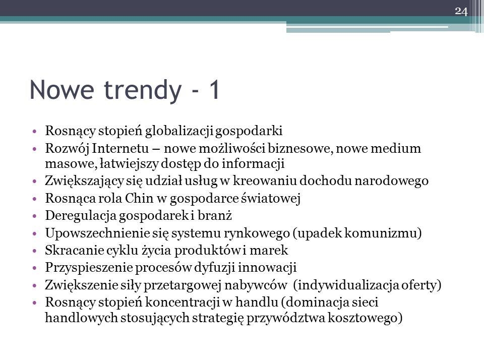 Nowe trendy - 1 Rosnący stopień globalizacji gospodarki